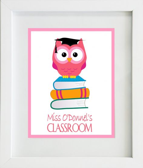 Thank You Teacher Pink Owl Classroom Print
